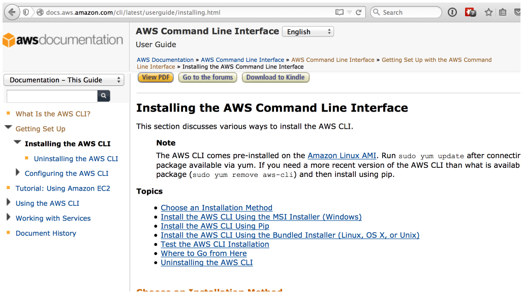 Command line install instructions