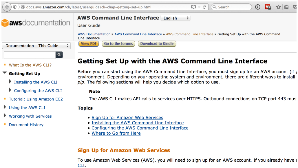 More AWS cli documentation