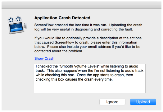 Then when ScreenFlow started up again I would get a Crash Reporter screen