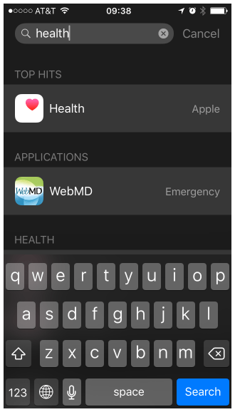 Search for the 'Health' app on your iPhone