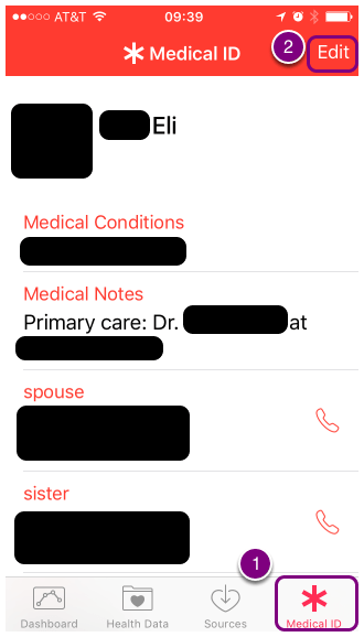 "Select the ""Medical ID"" (1) menu at the bottom and then select 'Edit' (2)"