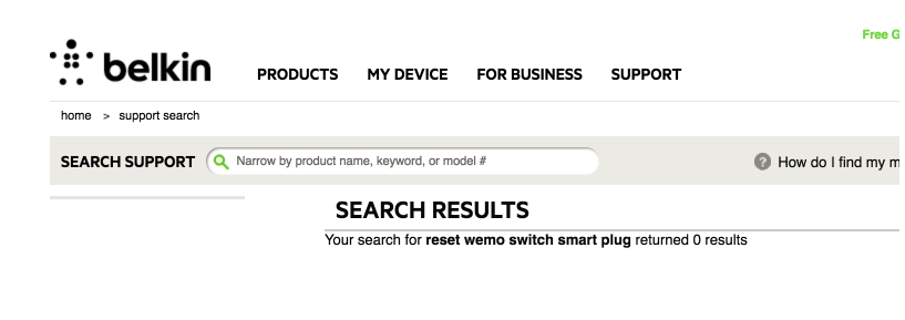Getting instructions to reset WeMo Switch