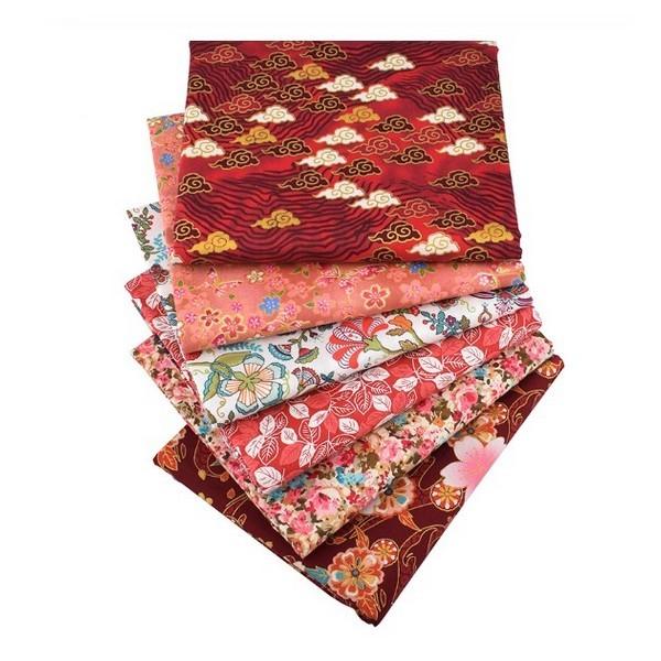 lot de 6 coupons tissu coton patchwork couture 40 x 50 cm motifs japonais 3100 6