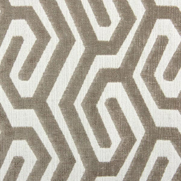 tissu maddox havane motif geometrique en velours chenille sur toile nadege tissus vendu par 50 cm
