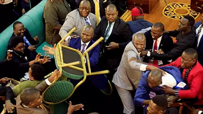 Chaotic scenes in Ugandan parliament as MPs debate age limit motion