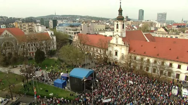 Thousands of Slovaks take to the streets protesting over corruption. There have been regular demonstrations since the murder of a journalist in February