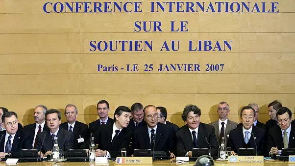 Lebanese Prime Minister Fuad Saniora, Governor of the Lebanese central bank Riad Salame, French Foreign Minister Philippe Douste-Blazy, French President Jacques Chirac, French