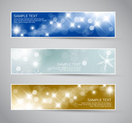 Shiny Christmas Style Banner Design Vector 05 Free Download