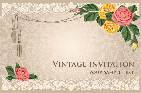 vintage invitation cards background vector 01 for free download free vector