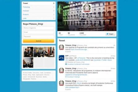 Palazzo Chigi inaugura l'account su Twitter.