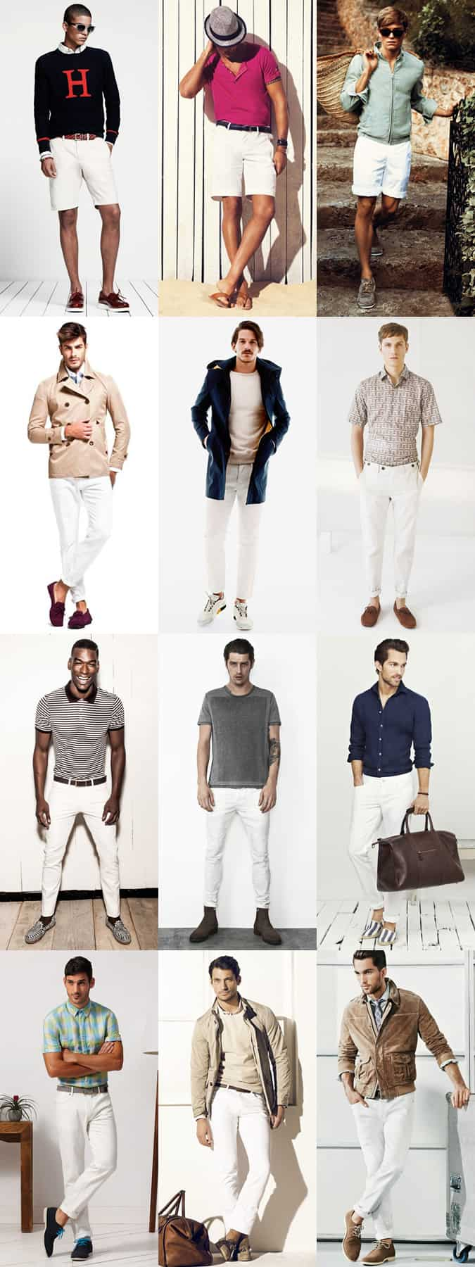 Men's White Trousers and Shorts Lookbook