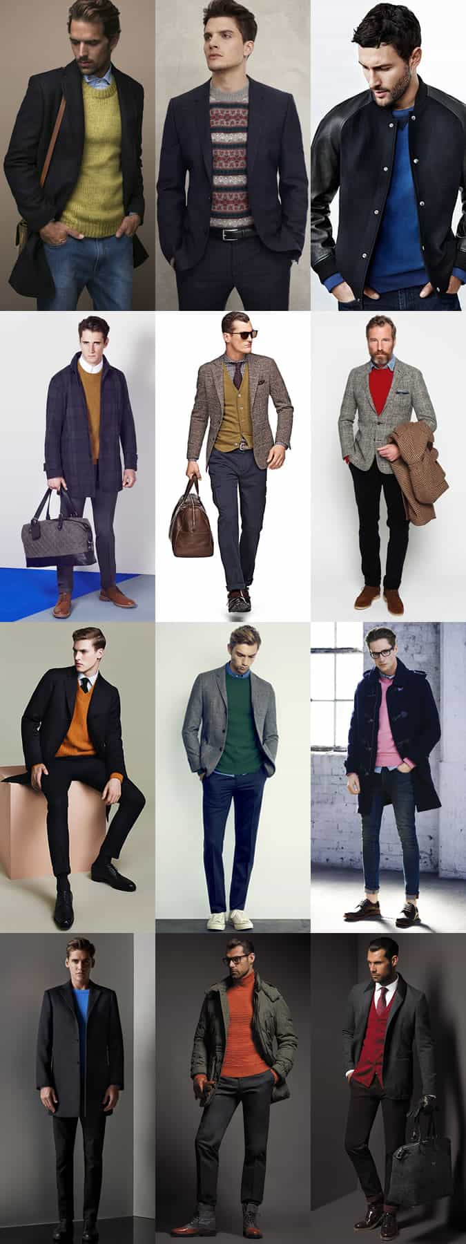 Men's Bold Coloured Knitwear Worn Underneath Neutral Over Layers - Outfit Inspiration Lookbook