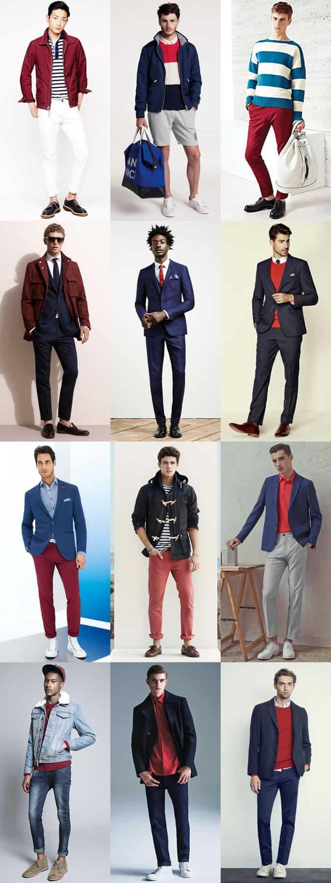 Lookbook Inspiration pour tenue rouge, blanche et bleue pour homme