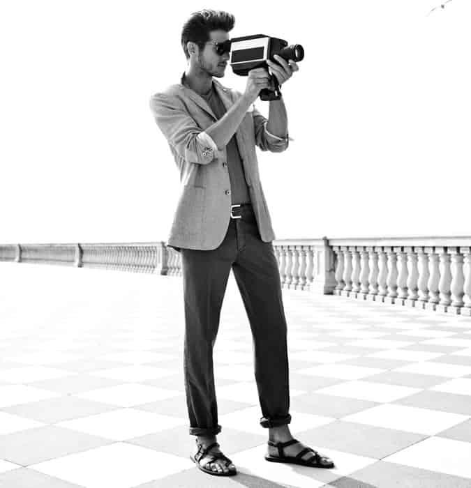 Lookbook d'inspiration pour hommes séparés avec sandales