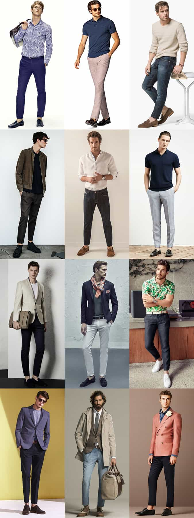 Men's Sockless Outfits - Slim and Tapered Jeans, Chinos and Trousers