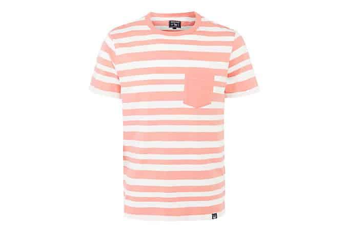 Woolrich John Rich & Bros.T-shirt rayé en jersey flammé Wotee, cerise légèrement décolorée