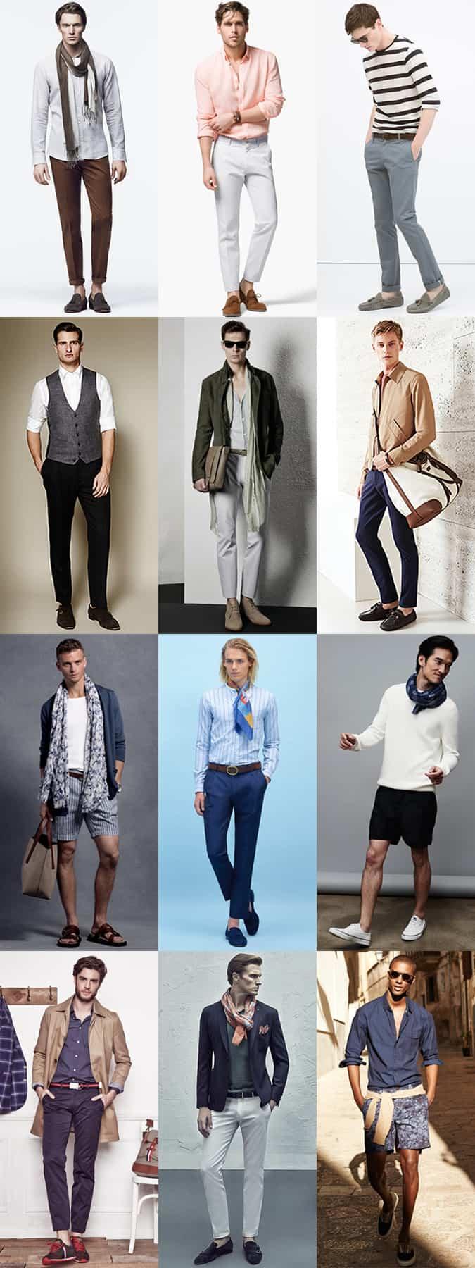 Tenues d'été pour hommes Tweaks - sans chaussettes, écharpes légères, manches retroussées - Lookbook