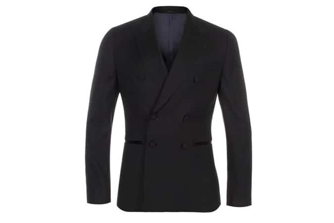 Blazer noir en laine à double boutonnage pour hommes Paul Smith