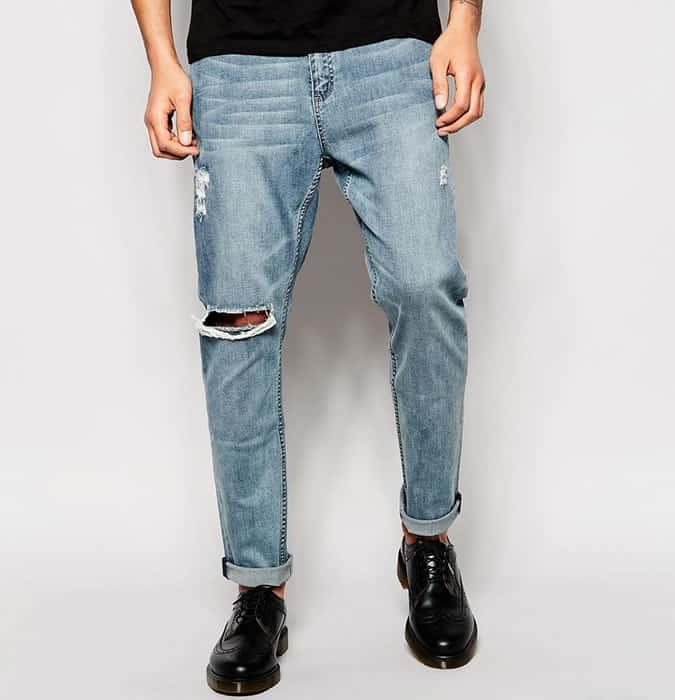 Jeans délavé léger pour homme - Look déchiré / vieilli en denim