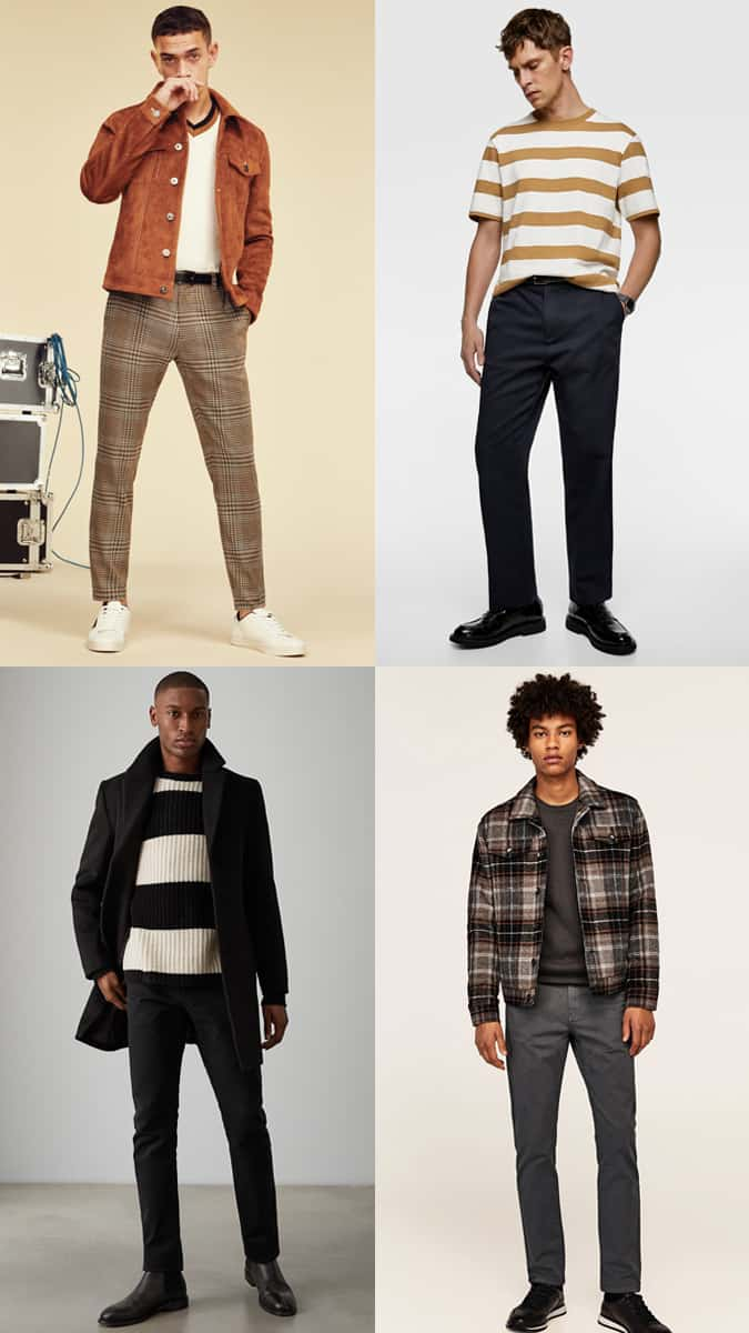 Men's Large Checks and Horizontal Stripes Outfit Inspiration Lookbook