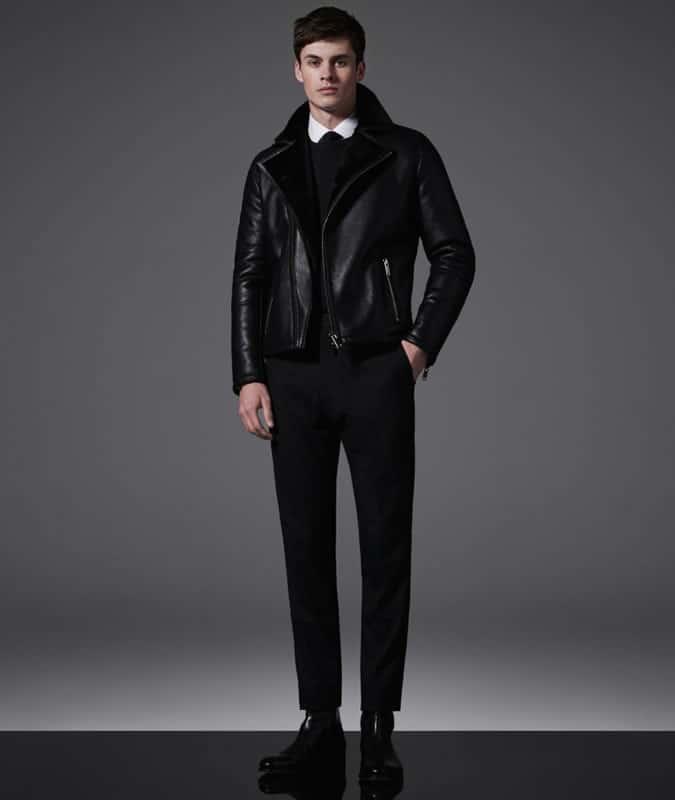 Men's Shirt & Tie With Biker Leather Jacket