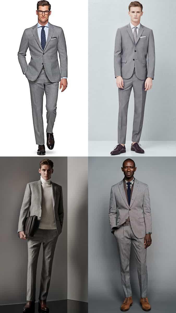 Men's Plain Grey Two-Button Suit Outfit Inspiration Lookbook