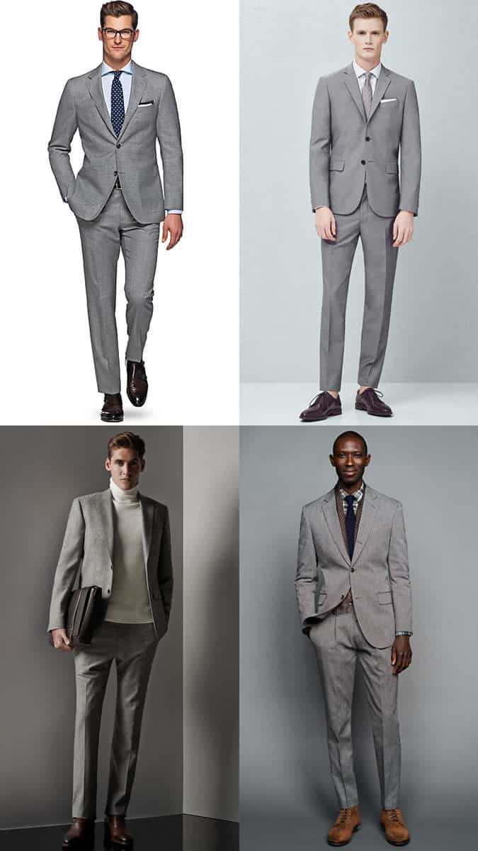 Men's Plain Grey Two-Button Suit Outfit Inspiration Lookbook
