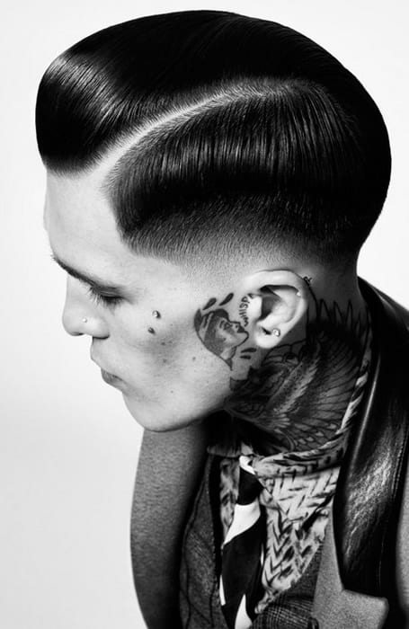 Men's Wet Look Fade Hairstyle