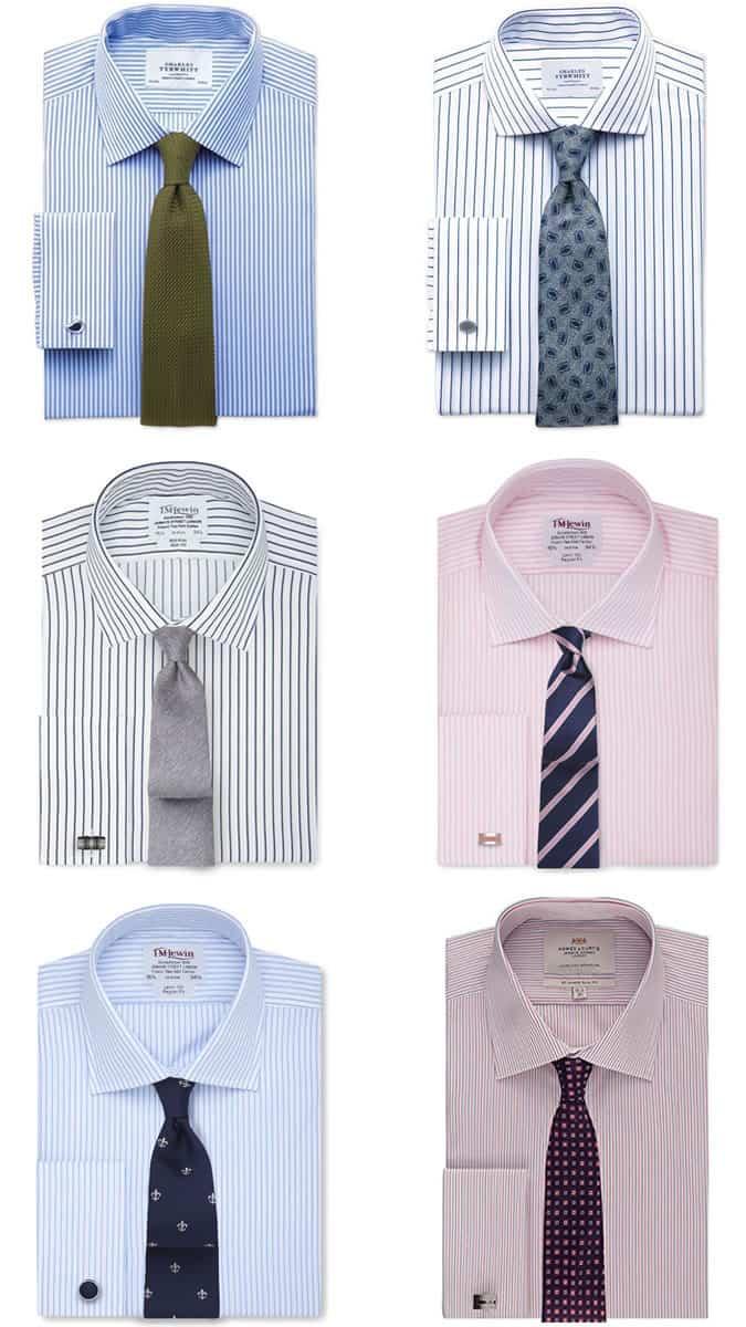 Combinaisons chemise et cravate à rayures pour homme