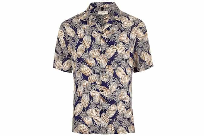 River Island Navy Pineapple Print Short Sleeve Shirt
