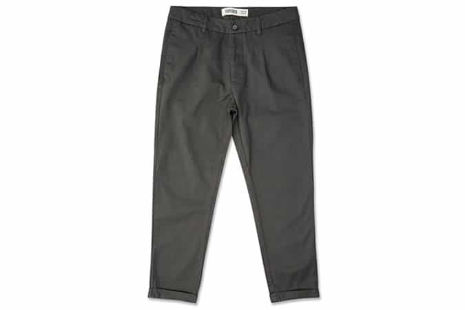 New Look Dark Grey Pleated Tapered Cropped Trousers