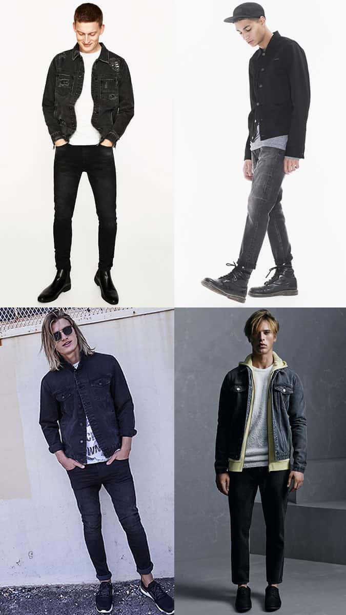 Combinaisons de jeans noirs et de vestes en jean noires pour hommes