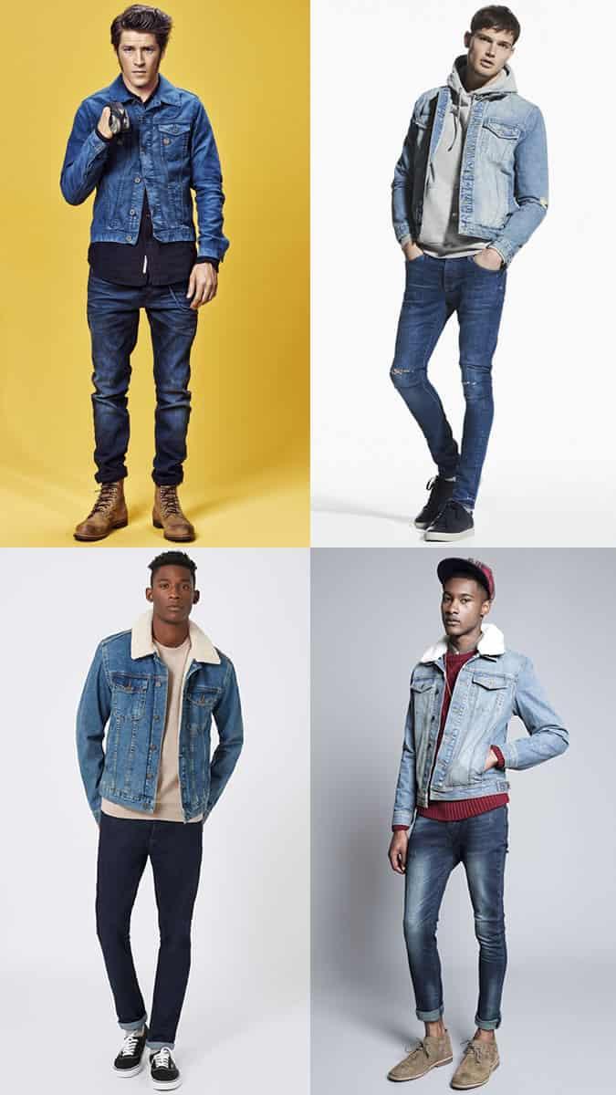 Jeans délavé foncé pour hommes avec combinaison de veste en jean délavé clair