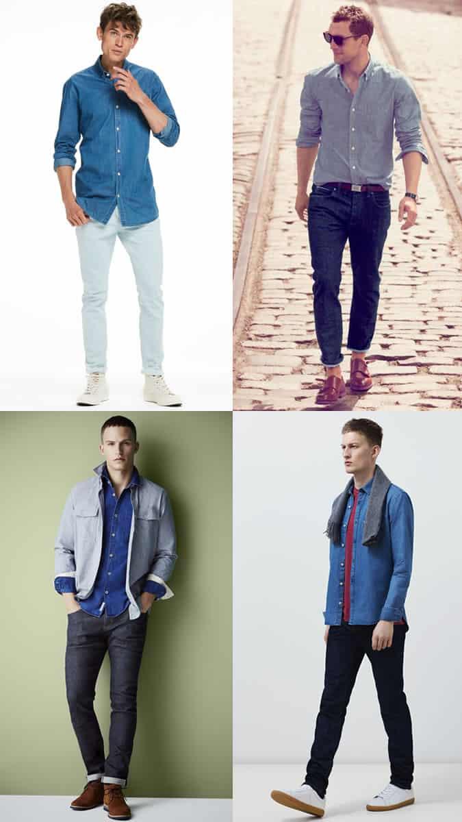 Combinaisons jeans et chemises ton sur ton pour hommes
