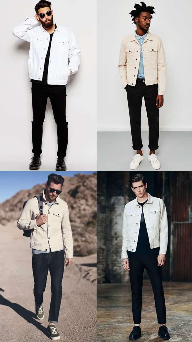Jean noir avec combinaisons de veste en jean blanches