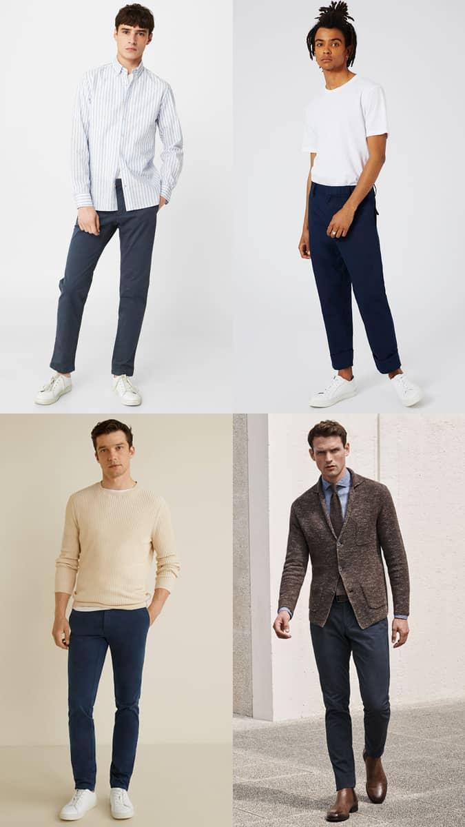 Lookbook d'inspiration de pantalon chino bleu marine pour homme