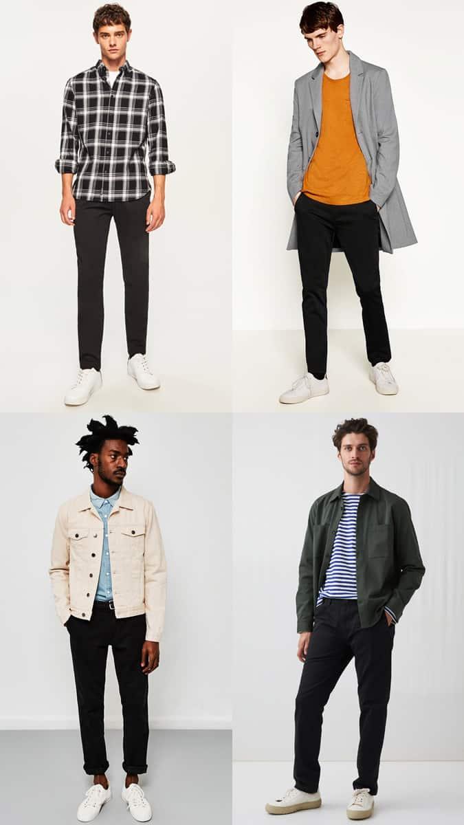 Lookbook d'inspiration de pantalon chino noir pour homme