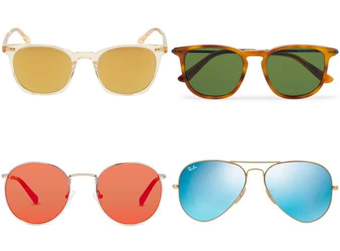 Lunettes de soleil à verres colorés pour hommes