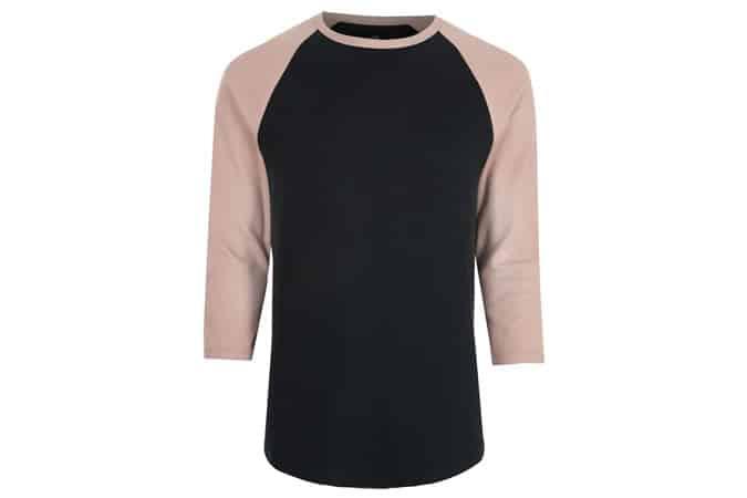 River Island - T-shirt slim à manches raglan rose
