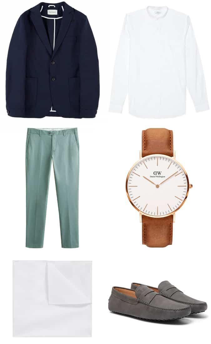 blazer bleu marine avec chemise à col grand-père et pantalon chino