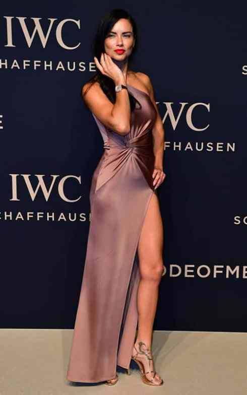 Adriana Lima wearing purple dress