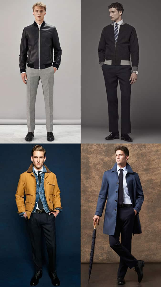 Leather jackets and field jackets worn with shirt and ties