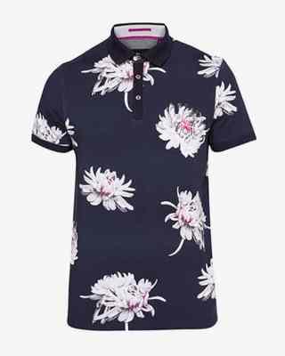 Polo en coton à imprimé floral