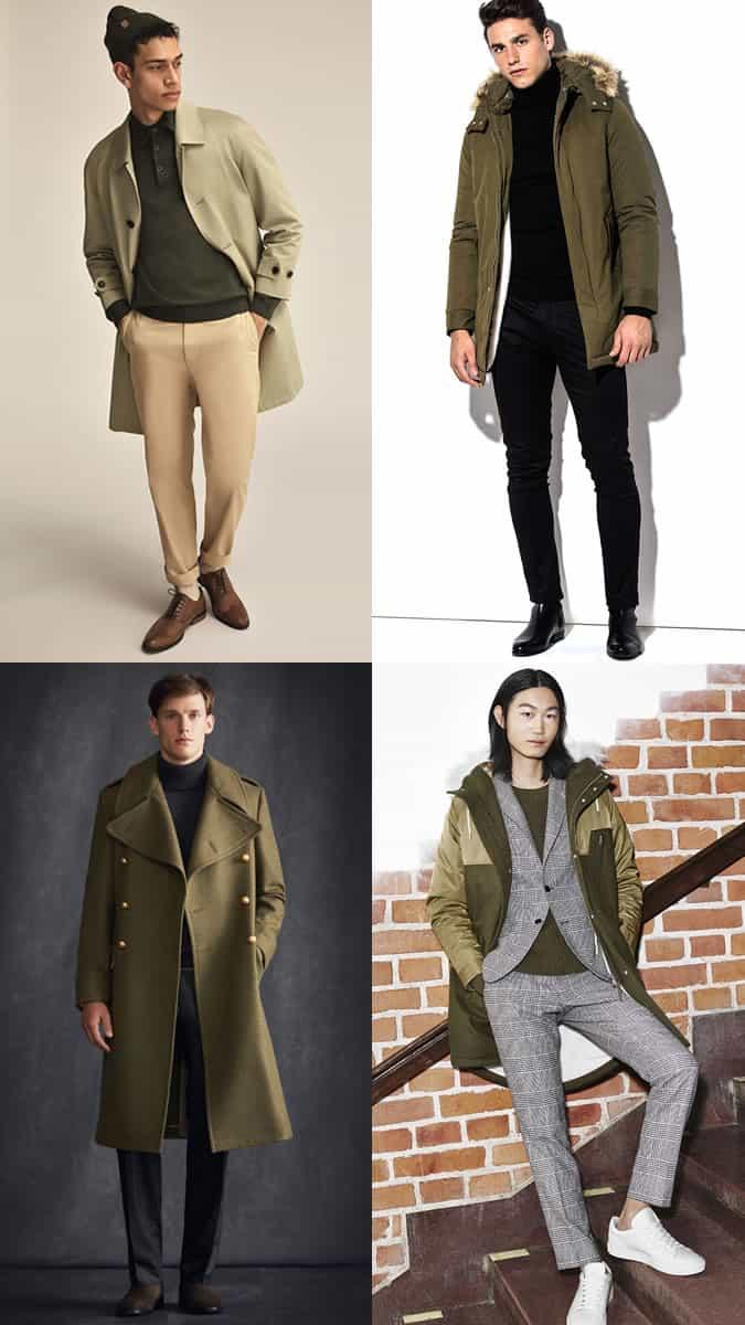 les meilleures tendances de la mode masculine pour l'hiver 2017 - couleurs vert mousse