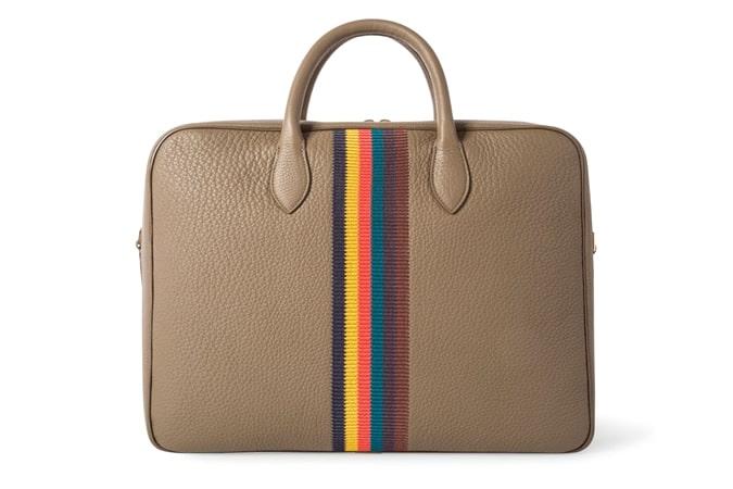 Folio d'affaires en cuir 'Bright Stripe' taupe pour homme