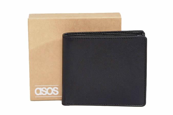 ASOS DESIGN - Portefeuille en cuir noir avec porte-monnaie interne