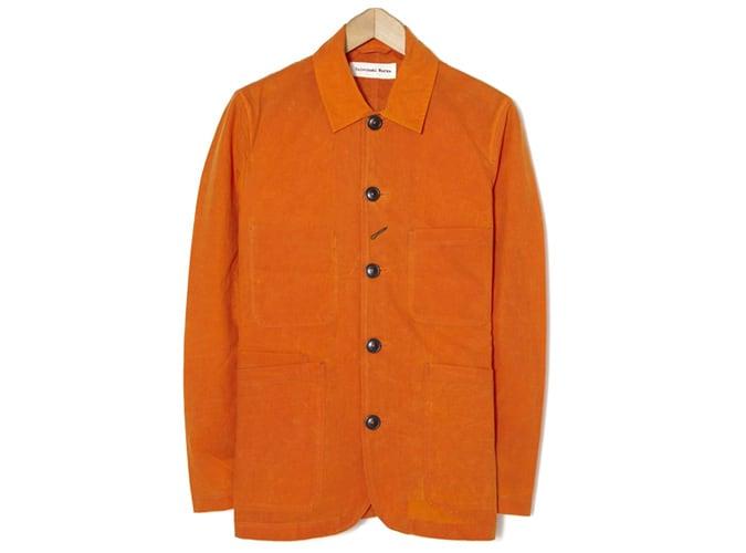 Veste Universal Works Bakers en coton ciré écossais orange