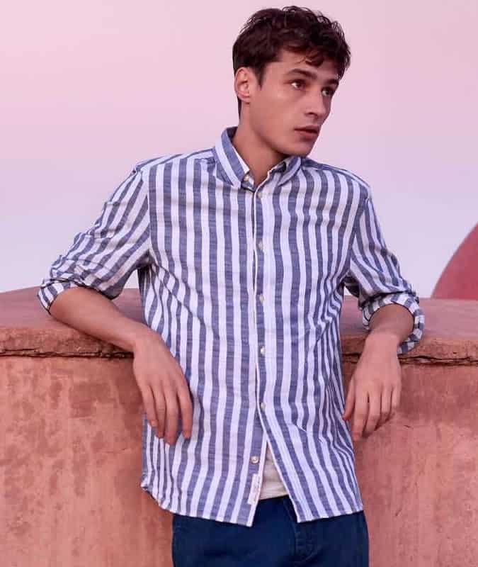 Chemise à rayures verticales transat
