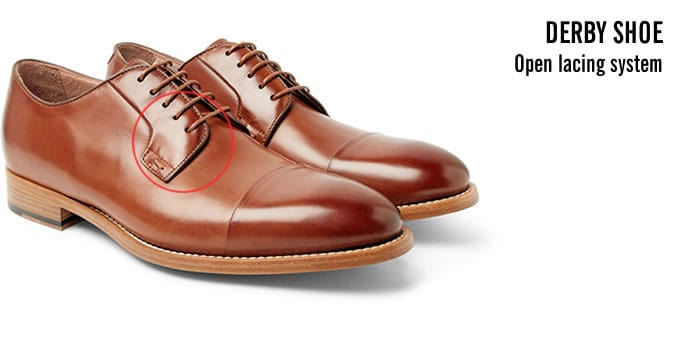 Derby Shoe Open Lacing System