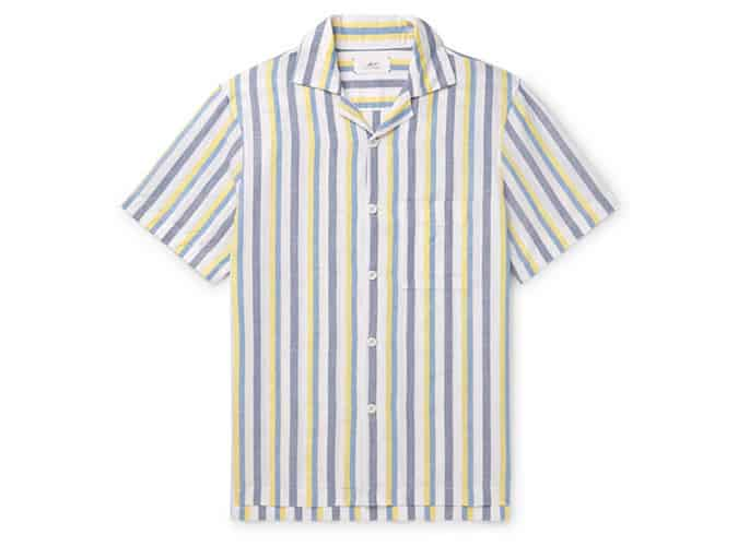 Chemise rayée en lin et coton mélangés MR P. Camp-Collar